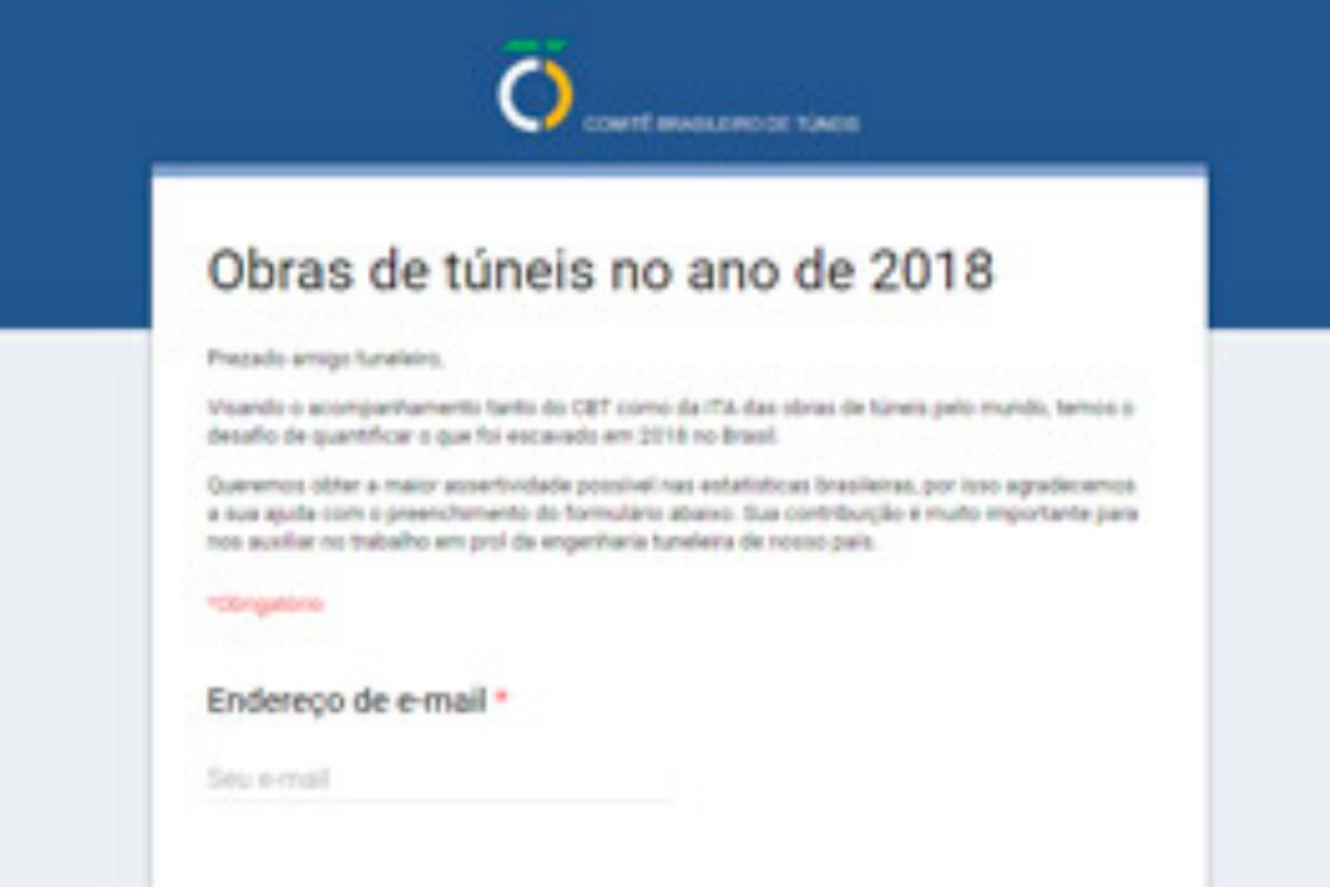 Participe da pesquisa 'Obras de Túneis em 2018' e contribua com a engenharia de túneis do país